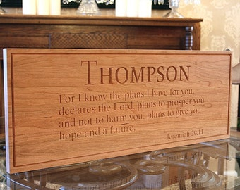Carved Wooden Signs: Last Name Sign Personalized Marriage Sign Anniverary Gift Custom Wood Signs Family Name Cherry VB