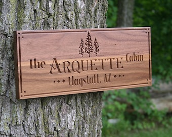 Custom Cabin Signs, Rustic Family Established Signs, Benchmark Custom Signs Walnut TE