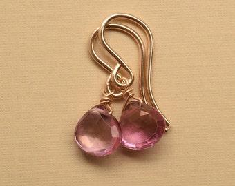Pink Gemstone Earrings, Pink Quartz Earrings, Gemstone Gold Fill Earrings, Healing Gemstone Jewelry