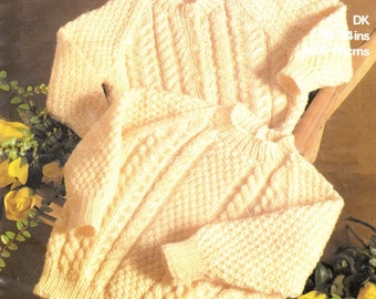 Baby Jumper and Lumber Jacket in DK 8 ply 18 - 24 ins - Marriner 1859 -  pdf of  of Vintage Knitting Patterns