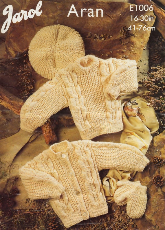 Knitting Pattern Child s Beret : Baby / Childs Aran Fishermans Knit Jumper Cardigan Beret