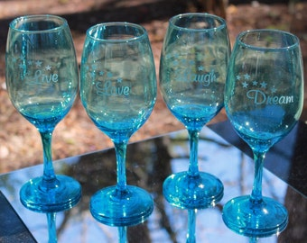 Set of 4 Etched Aqua Wine Glasses with Live, Laugh, Love, Dream Theme