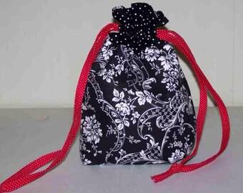 Black Floral Wristlet/Drawstring Bag