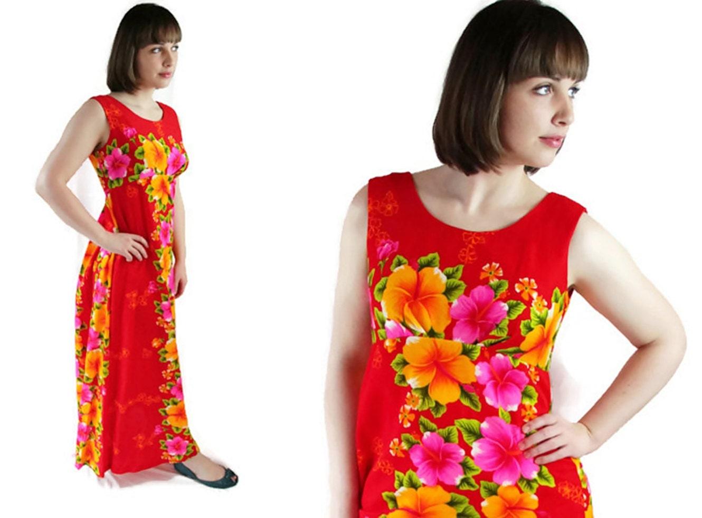 70s Hawaiian Dress Luau Maxi Beach Wedding Red