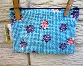 Vintage BlueFloral Upcycled Zipper Bag:  Blue, White, Violet and Coral, with Vintage Denim Lining. Black Friday/Cyber Monday/Free Shipping