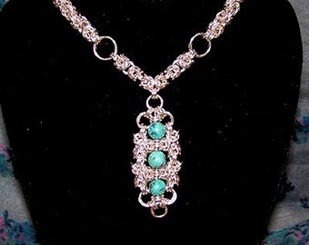 Byzantine and African Turquoise Necklace - Chainmaille