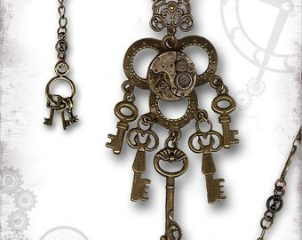 Keys of Time Steampunk Chandelier Necklace - Za Dee Da - The Crypt Keepers Collection - The Time Keeper