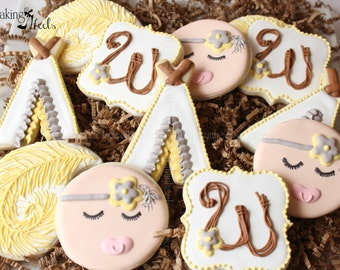 Boho Baby Shower Decorated Cookies,  Bohemian Cookies, Decorated Cookies, Baby Shower Cookies, Baby Cookies, Cookie Favors