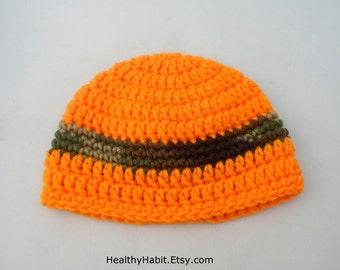 Hunter Crochet Hat, Etsy Hats, Little Boy Hat, Orange Beanie, Newborn Photo Prop, Childs Hat, Hunting Season, Orange Stripe Hat, Fall Prop