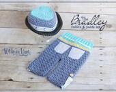 Newborn Fedora Hat an Pants-Bradley Fedora-Summer-Baby Photo Prop