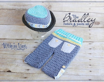 Newborn Fedora Hat an Pants-Bradley Fedora-Summer-Baby Photo Prop