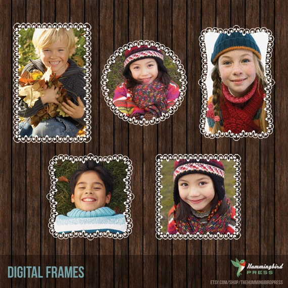 INSTANT DownloadDecorative Digital Frame Collection with Clipping Masks - F1
