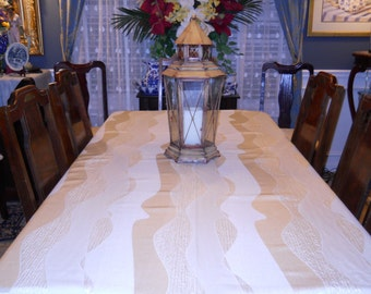 Table Linen, Table Cloth, Elegant/Formal White Christmas/Thanksgiving 53''x104'' Table Cover, Dining/Serving/Wedding Party