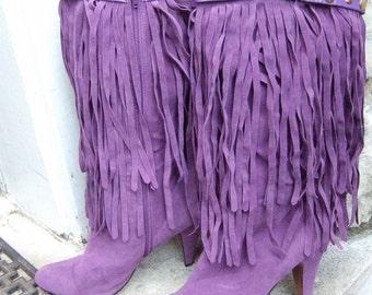 Trendy Violet Fringe Faux Suede Boots US Size 9
