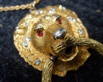 Elegant Jeweled Lion Pendent Necklace