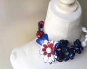 Reserved Fourth of July Flower Firework Butterfly Statement Necklace in Red, White, Blue Jewelry by ZILLAS QUEEN