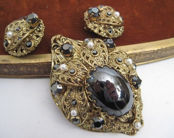 Vintage Filigree Pendant and Clip Earring Set W Germany