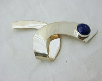 Sterling Silver Danish Mid Century Modern Lapis Pin
