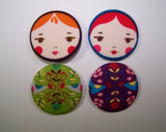 Matryoshka Doll Buttons x 4  These are SEW ON Buttons.