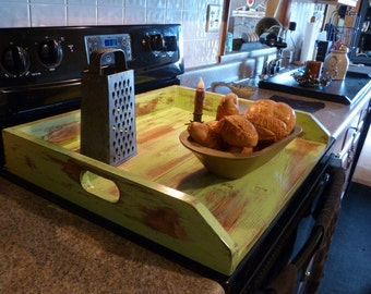 Primitive Kitchen, Noodle Board, Green Dough Board, Country Kitchen Board, Wooden Tray, Stove Top Cover, Laundry Room
