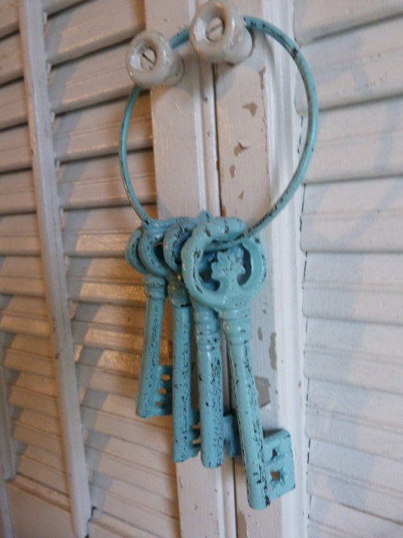 Upcycled Aqua Blue Iron Skeleton Keys Cottage Chic Parisian Apartment Decor Wall Hanging Shabby and Chic