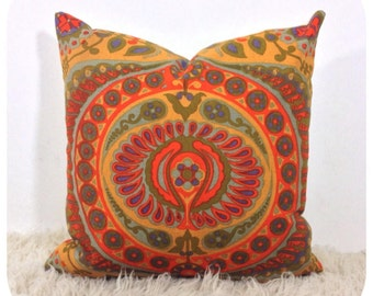 """Cushion Cover Vintage 1966 Pageant By Jyoti Bhomik 18"""" x 18"""" Orange Throw Pillow"""