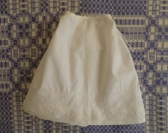 Vintage Doll Size Cotton Petticoat, Half Slip, Lace Trim and Tie Waist, Handmade Doll Clothes, Undergarmet