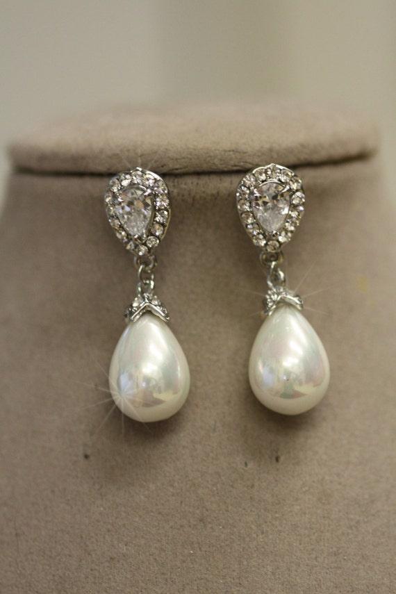 Preferenza Orecchini di perla nuziale stile vintage. Orecchini di perle. WG12