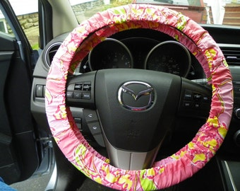 Steering Wheel Cover made with Lilly Pulitzer fabric