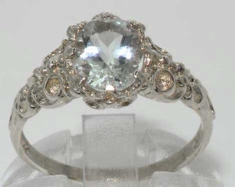 Solid 14K White Gold Natural Aquamarine Solitaire Victorian Style Engagement Ring, March Birthstone -Customize:9K,18K Gold