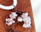 Tree of Life pendant copper with moon beaded kumihimo necklace rose quartz