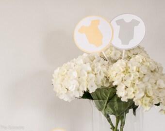 Baby Shower Centerpiece Sticks, OnePiece Baby Shower Decoration, Gender Neutral Baby Shower, Yellow Gray Baby Shower
