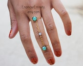 Gold Turquoise Gem Double Ring