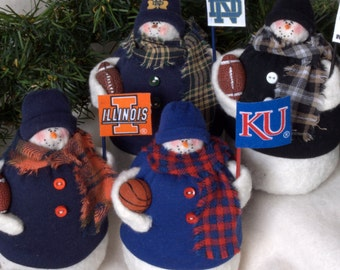 Pro or College Team Fabric Snowman