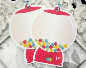 Gumball Machine Gift Tags (6) Candy Party-Candy Buffet-Thank You Tags-So Sweet Tags-Candy Gift Tags-Custom Favor Tags-Birthday Party Tags