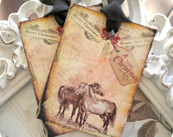Christmas Horse Gift Tags (6) Christmas Gift Tags-Holiday Tags-Vintage Style Tag-Treat Tags-Favor Tags-Merry Christmas Tags-Rustic Horse Tag
