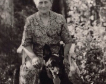 Original Antique Photograph Older Woman Sits With Beautiful Dog In Garden