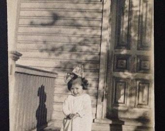 Original Antique Photograph Sweet Little Girl Laughs Twilight Tree Shadow