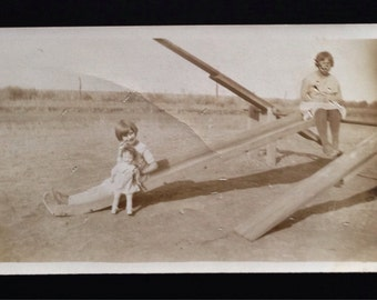 Original Antique Photograph On the Seesaw 1930