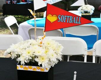 Softball Centerpiece Flags