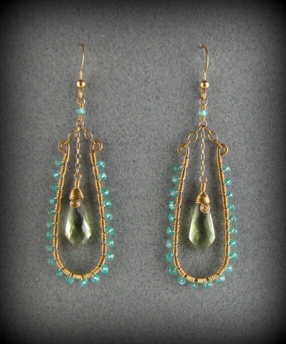 Apatite, Lemon Quartz Gemstone Gold Wire Wrap Chandelier Earrings