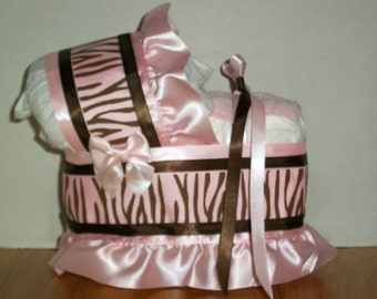 pink and brown zebra girl diaper bassinet baby shower gift table decoration