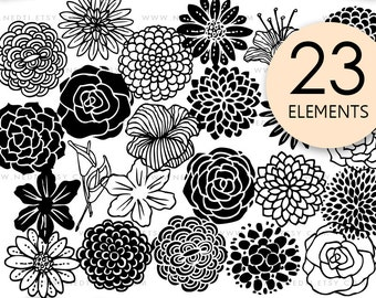 Beautiful Flowers Hand Drawn Doodle Clip Art, Flora Clipart, PNG, Images, Instant Download, Stamps, Inivtation, Design, Tattoo, Stickers