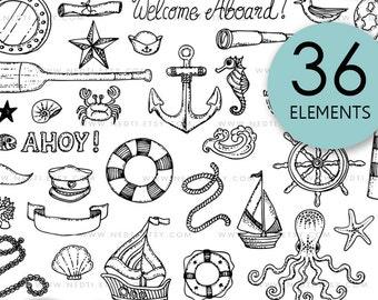 BEST SELLER Nautical Doodle Clip Art, Anchor Clipart, Lineart, Seaside, Compass, Sailor, Ocean, Coastal, Ocotpus, Beach, Instant Download