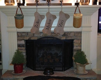 Burlap dog bone  stocking personalized