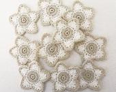 10 cotton crochet white and ecru/off white flower appliques 42 mm diameter weddings birthdays anniversaries #F008