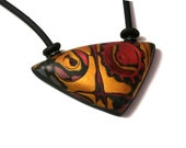 African queen, Tribal ethnic necklace, Polymer art necklace, Art Jewelry By JagnaB