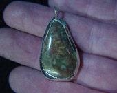 Lake Superior Beach Stone Pendant - Free Form, Silver Alloy Bezel  *1000005