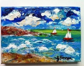 Sailboat Painting Ocean Sky Acrylic Impressionist Wall Art Home Nautical Office Canvas Impasto Coastal Decor Beach Art Nautical Nursery