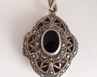 Vintage Sterling Silver Onyx and Marcasite Locket/endant